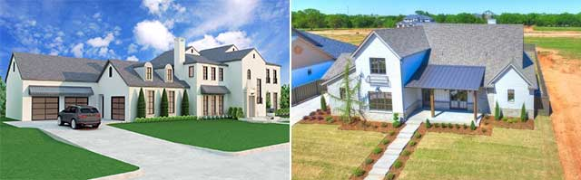 Elevation and Render Comparison 3D house plans