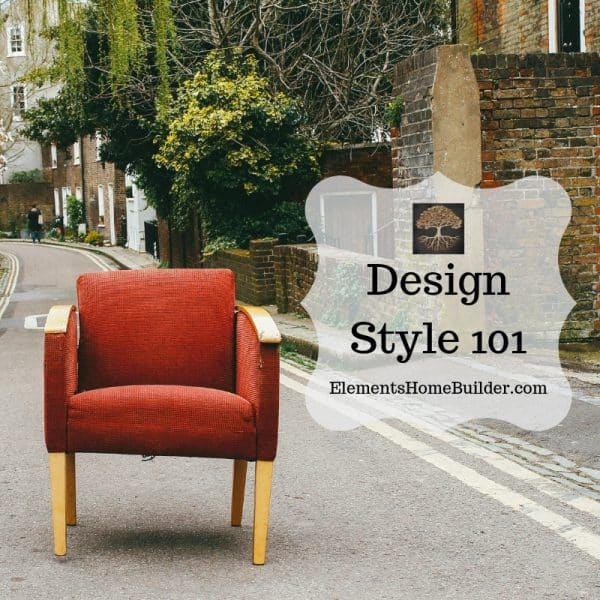 "Photo of a chair in the middle of the road, with brick homes and trees in the background on ""Design Style 101,"" an article by Elements Design Build"