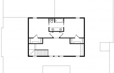 Fox hill Coastal Farmhouse 2nd floor plan - Elements Design Build Greenville SC