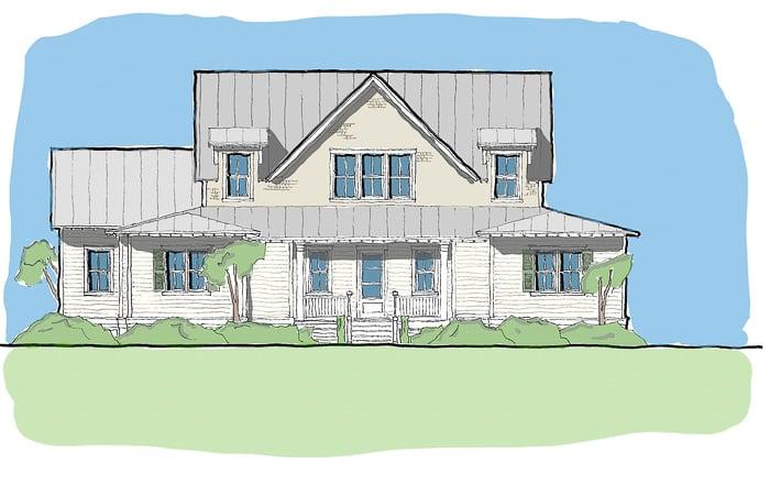 Fox hill Coastal Farmhouse Elevation - Elements Design Build Greenville SC