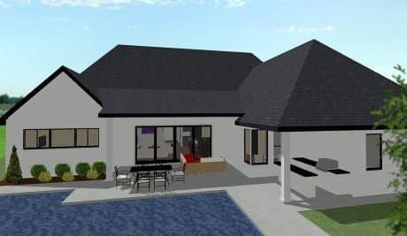 Hampton One Story Cottage Elevation - Elements Design Build Greenville SC 4