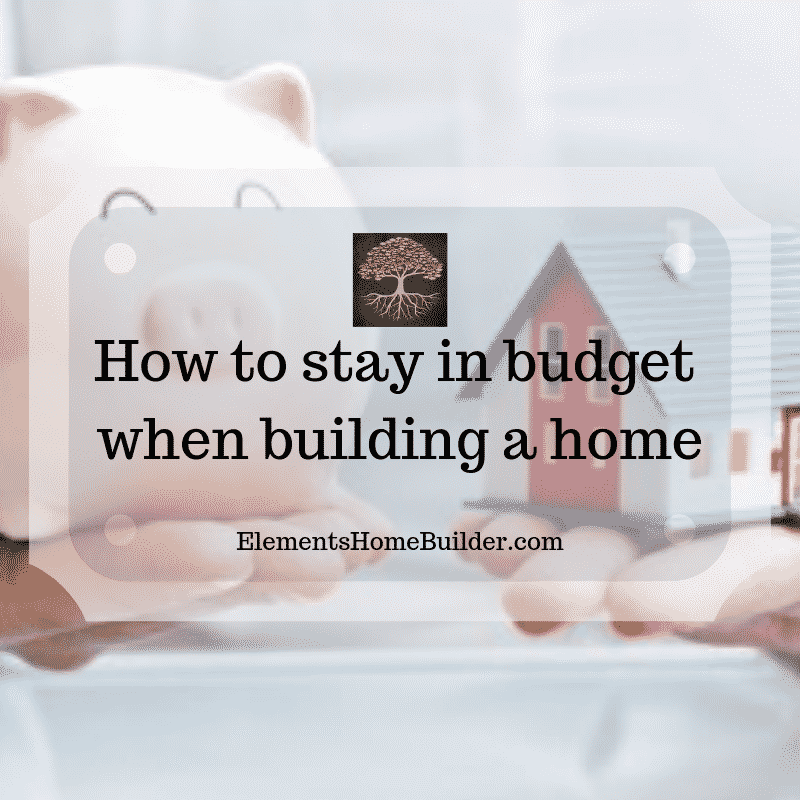 "Photo of a person holding a piggy bank in one hand and house figurine in the other on ""How to stay in budget when building a home,"" an article by Elements Design Build, Custom Home Builder Greenville SC"
