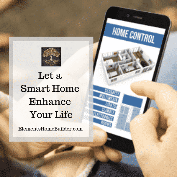 "Photo of home control system being used on a smart phone on ""Let a Smart Home Enhance Your Life,"" an article by Elements Design Build, a Custom Home Builder Greenville SC"