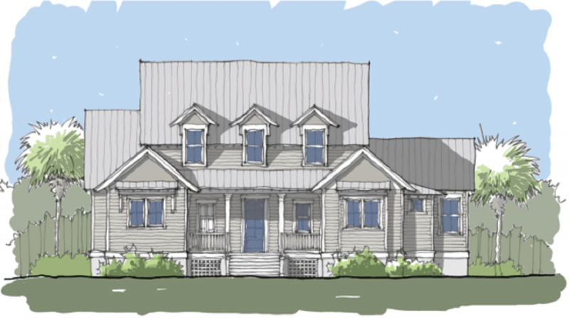 Homestead Urban Modern Farmhouse Elevation -Elements Design Build Greenville SC (1)