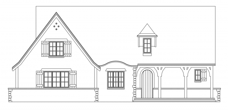 Suffolk Stone Cottage Elevation - Elements Design Build Greenville SC