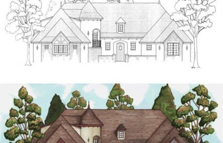 Sussex Castle Tower Elevation - Elements Design Build Greenville SC