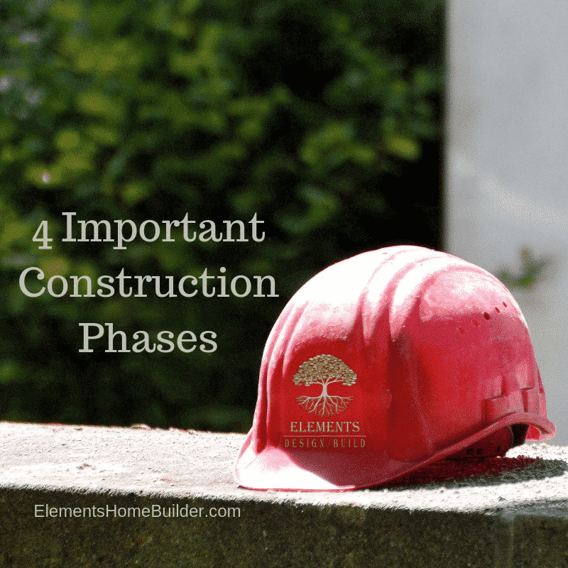 """Photo of a red hard hat sitting on top of a wall on """"4 Important Construction Phases,"""" an article by Elements Design Build, Greenville SC Custom Home Builder"""