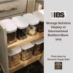 Canisters of dog treats and bones displayed in a storage solution at the International Builders Show 2019, Photo taken by Elements Design Build, Custom Home Builder Greenville SC