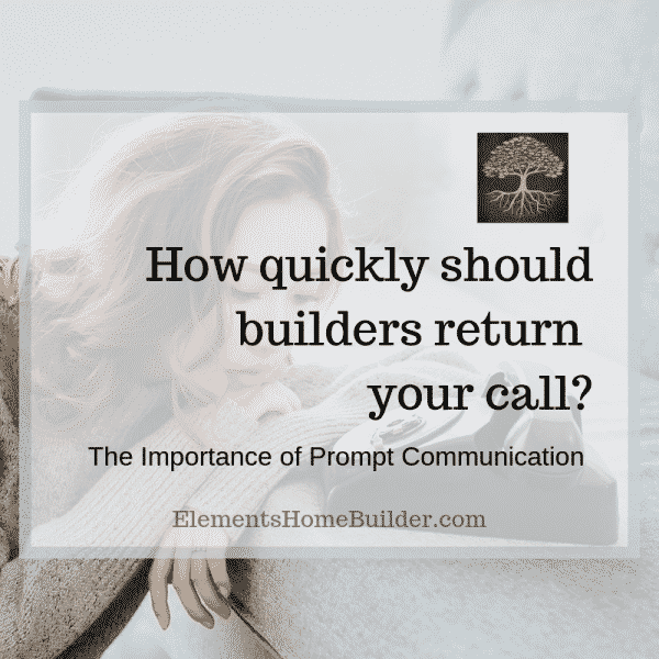 "Photo of a woman staring at a phone on ""How quickly should builders return your call?"" - An article by Elements Design Builder, one of the top Greenville SC custom home builders"