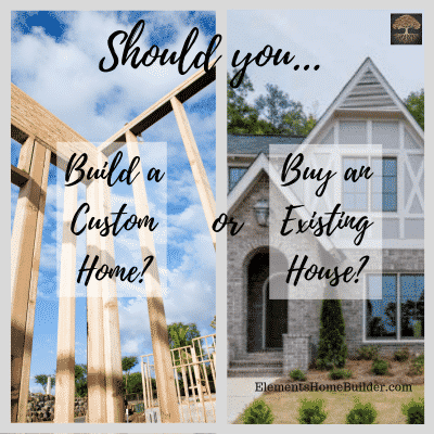 """Photo of a house being framed and a house that is already built on """"Should you build custom or buy existing?"""", an article by Elements Design Build, Custom Home Builder Greenville SC"""
