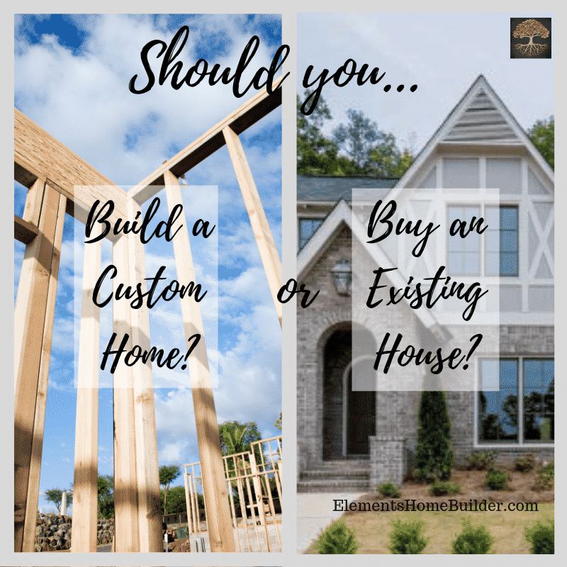 "Photo of a house being framed and a house that is already built on ""Should you build custom or buy existing?"", an article by Elements Design Build, Custom Home Builder Greenville SC"