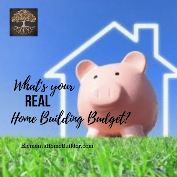 Photo of a piggy bank inside the outline of a house on What's your real home building budget, an article by Elements Home Builder, one of the best Custom Home Builders Greenville SC