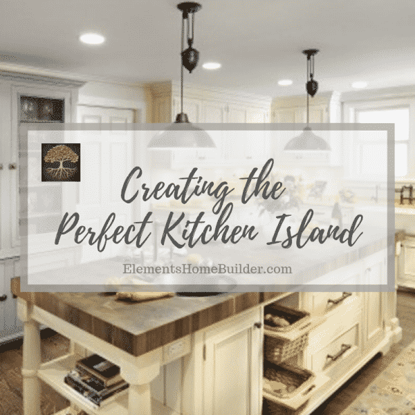 Photo of a kitchen island on Creating the Perfect Kitchen Island, an article by Elements Design Build, Custom Home Builder Greenville SC