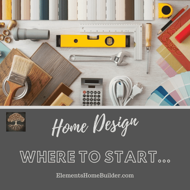 Photo of paint samples, tools, colors, and more on Home Design: Where to Start, an article by Elements Design Build L.L.C., one of the best Custom Home Builders Greenville SC