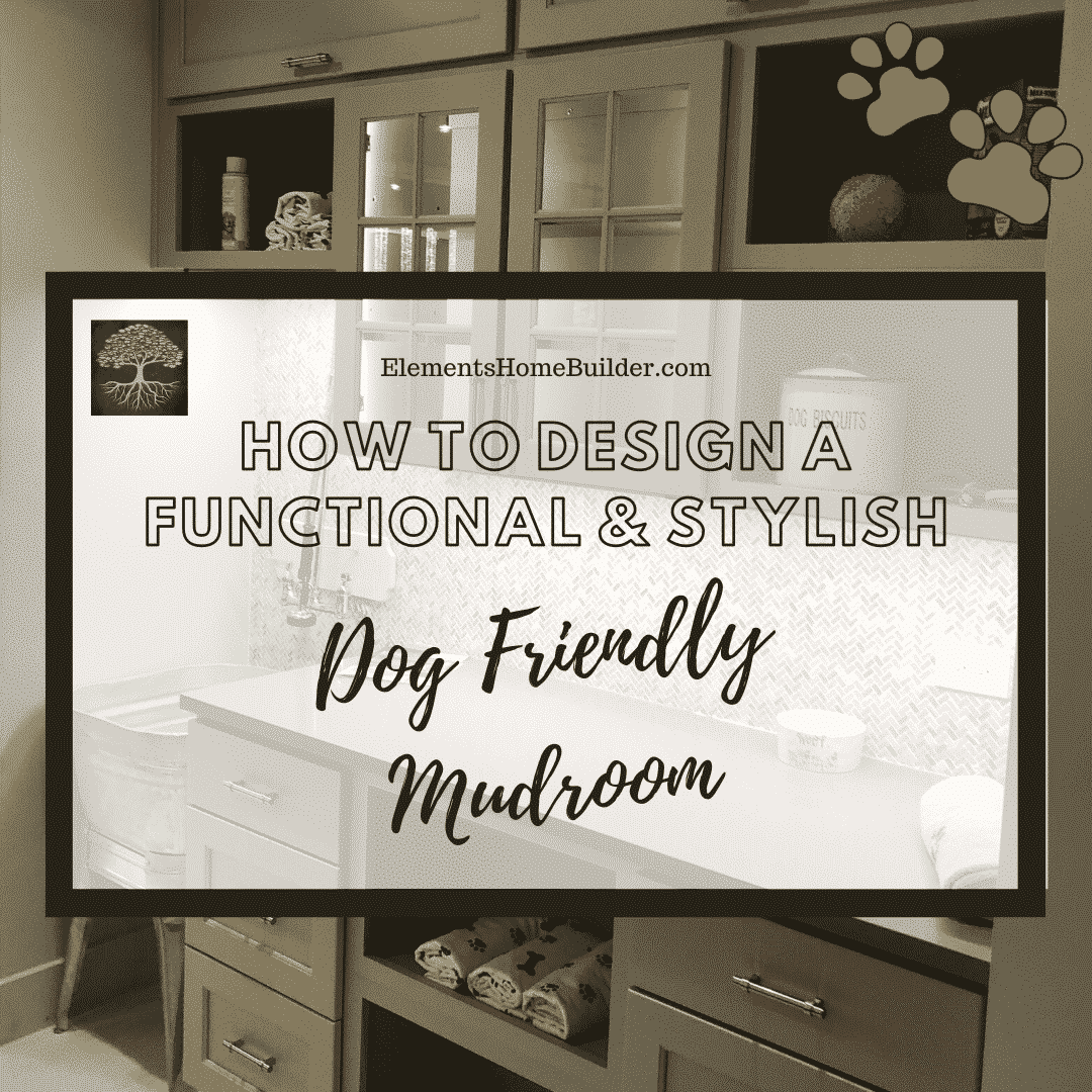 "Photo of a dog friendly mudroom on ""How to Design a Functional & Stylish Dog Friendly Mudroom,"" an article by Elements Design Build L.L.C., Custom Home Builder Greenville SC"